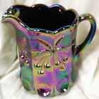 Purple Carnival Glass Cherry & Cable Pattern  Large Water Pitcher