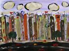 ORIGINAL City Landscape Naive SELF TAUGHT Folk Outsider Mary Carol art MCW