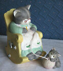 Rocking Musical Cat Figurine with Baby Kitten