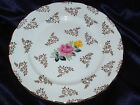 QUEENS QUEEN'S ROYAL SALAD PLATE YELLOW PINK ROSE GOLD FILLIGREE SCALLOPED CROWN