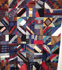 SIMPLE YET INTRICATE SILK CRAZY QUILT TOP c 1910