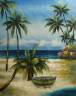 Oil Painting of Seascape Palm Trees Rowboat Sea Beach Scene - 16x20