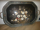 Antique Vintage  WOOD Gesso TRAY /  PICTURE FRAME w/ flowers barbola