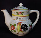Royal Sealy Japan Rooster and Roses Large TEA POT rooster and floral pattern