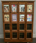 Butterick Pattern Cabinet Oak Display w/16 glass front drawers Vintage/Antique