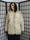 MINT NATURAL CURLY LAMB SHEEP FUR JACKET COAT WOMEN WOMAN SIZE 4 PETITE