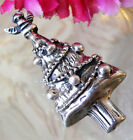 UNIQUE PRETTY STERLING SILVER CHRISTMAS TREE PIN BROOCH PENDANT ANGEL TOPPER 14g