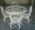 Vintage Wrought Iron Round Table Set & 4 Arm Chairs  1950's  Ornate Patio