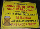 VINTAGE BEER and/or ALCOHOL ILLEGAL CITY STREET SIGN 60s Tin art bar  Liquor