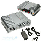 200W 12V Mini HiFi Amplifier Booster Audio MP3 Stereo for Car Motorcycle + Power