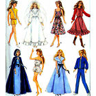 Vintage Doll Clothes Wedding Dress Evening Gown Skirt Cape Sewing Pattern Barbie