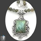 122.75cts NATURAL LABRADORITE 925 STERLING SILVER BEADS NECKLACE PENDANT E44867