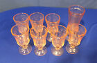 LOT OF 8 MADRID PINK DEPRESSION GLASS WATER GOBLETS AND CANDLE HOLDER