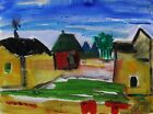 ORIGINAL City LANDSCAPE Primitive Naive raw MCW art Mary Carol Williams Folk