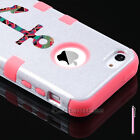 For iPhone 5C Colorful Heavy Duty Hybrid Rugged Rubber Soft Hard Case Cover +Pen