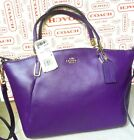 NWT Coach Madison Small Kelsey Violet Pebbled Leather SATCHEL Handbag 33733