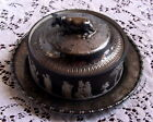 Antique Wedgwood c.1890 Black Jasper w/Sacrifice Figures Cow Butter Dish