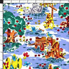 Country Back Porch Farm Barnyard Animal Apple Tree Cotton Quilting Fabric BTY