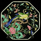 NIPPON JAPAN CANTON FAMILLE NOIRE BIRD OF PARADISE OCTAGON WALL CABINET PLATE 9.