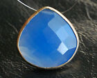 Blue Chalcedony Heart Briolette Gold Filled Focal Bead Pendant 21mm.