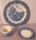 CURRIER & IVES CHURCHILL PATTERN 'HARVEST' - 3 PIECE SET DINNER PLATE CUP SAUCER