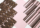 48 Pink Brown Leaf Stripe Quilting Soft Snuggle Flannel Squares Quilt Quilter