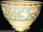 CROWN STAFFORDSHIRE ELLESMERE SUGAR BOWL BROWN SCROLLS & GRIFFINS ON TURQUOISE