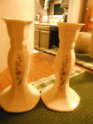 BELLEEK WHITE MILLENNIUM 2000 ROSE TRELLIS 2 CANDLE STICKS PINK FLOWERS IRELAND