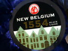 NEW BELGIUM BREW FAT TIRE black label LED LIGHTED  BEER SIGN BAR LIGHT ROUND PUB