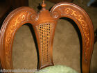 Antique French Chair Cane Back inlaid Walnut Pair Heart
