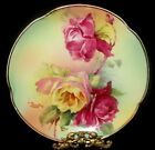 J&C BAVARIA BEAUTIFUL HAND PAINTED PINK, YELLOW MIGNON ROSES 8' CABINET PLATE
