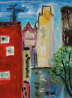 Original CITY Naive SELF TAUGHT Folk Outsider  Mary Carol art MCW Landscape