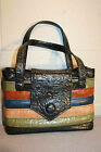 STRIPED COLORBLOCK CRINKLE VINYL VINTAGE 60s HAND BAG SHOPPER TOTE PURSE
