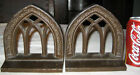 ANTIQUE BRADLEY HUBBARD ARCHITECTURAL CATHEDRAL CAST IRON WINDOW ART BOOKENDS