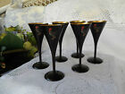 Vintage Set of 6 Japanese Gold Lacquer/Black/Rooster  Sak /Wine Stem Goblets -