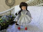 Porcelain Doll  by Bradley  Dorothy With Red Slippers  Carries Toto in Basket