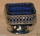 Vintage Mayell England Chrome Cobalt Blue Glass Sugar Bowl Compote Dish
