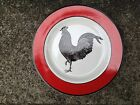 Rooster Plate Salad Dessert Red Rim Primitive Artists Barnyard Chickens