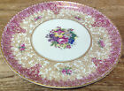 Royal Worcester England Antique Z227 Z 227 Red Gold Roses Luncheon Plate Floral