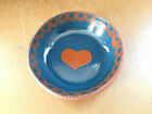 FOLTZ POTTERY Folk Art Redware Slipware Slip Dish Bowl Plate 1984 Heart on Blue