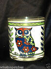 CERA GLASSWARE 12 Z OLD FASHIONED GLASS OWL BIRD WHITE BACKGROUND RED BLUE
