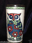 CERA GLASSWARE 12 Z FLAT GLASS TUMBLER OWL BIRD WHITE BACKGROUND RED BLUE FLOWER
