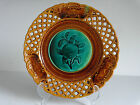 c1850 ORANGE French Majolica Rubelles Emaux Email Ombrant Reticulated Plate #11