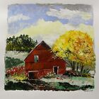 ORIGINAL FARM Landscape Painting  JMW art John Williams Impressionism Red Barn
