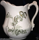 JOHN EDWARDS WIND FLOWER CREAMER PITCHER 30 OZ GREEN FLOWERS & LEAVES WITH GOLD