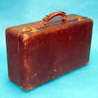 Antique Vintage Leather SUITCASE Dark Brown Hard Side Photo Prop Store Display
