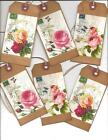 ~12 TAGS~PRIMITIVE GRUNGY TAGS~ Postcard Roses With Love
