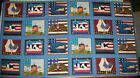 Patriotic Animals Quilt Fabric Panel OOP Cows Chickens Flag Eagle 100% Cotton