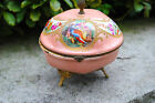 ANTIQUE FRENCH DRESSER FAIENCE BOX hand painted jewelry trinket AS IS brass feet