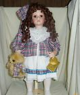 Betsy Kingstate 21in porcelain brown eye curly brunette doll and teddy bear 2795